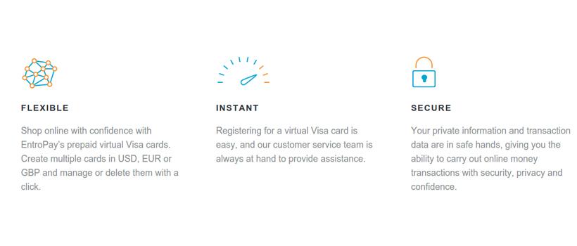 EntroPay Virtual VISA Features