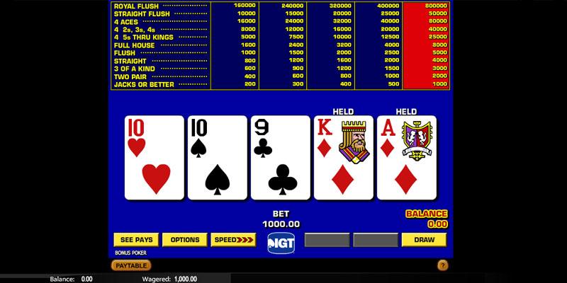 Bonus Poker Screenshot