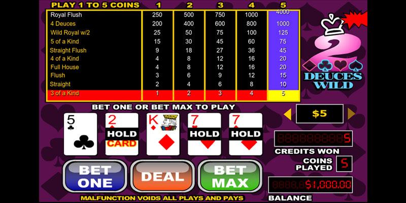 Deuces Wild Poker Screenshot