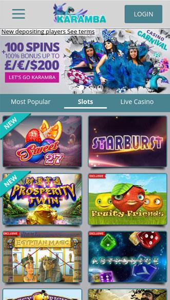 karamba casino app screenshot