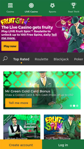 mr green casino app screenshot