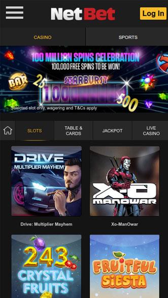 netbet casino app screenshot