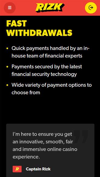 rizk casino app screenshot
