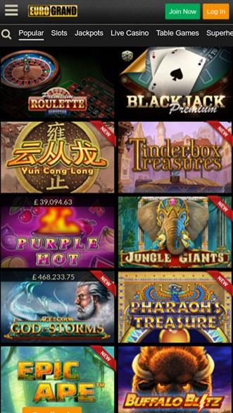 eurogrand casino app screenshot