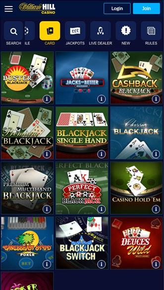 william hill casino app screenshot